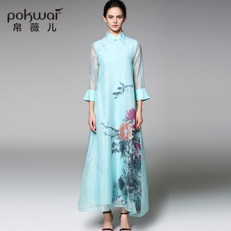 silk floral beach qipao cheongsam party plus size club long dresses casual sexy  women 2019 spring summer blue flower elegant