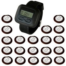 SINGCALL Wireless Hospital Calling System for Restaurant, Hotel, Coffee Shop 20 Oon-Button Bells and 1 Watch Receiver