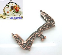 Free Shipping-2 Metal Frame Kiss Clasp Pattern Carved For Purse Bag Copper Tone 11x6.5cm(Can Open Size:12.4x10.5cm) J2623(China)