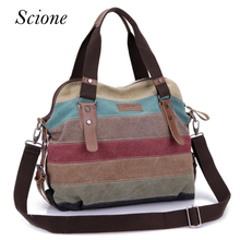 Famous Brand Women Patchwork Handbags Canvas Shoulder Messenger Bags Casual Beach School Travel Shopping Tote pouch Bolsos Mujer(China)