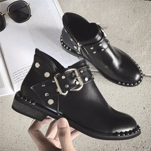 Metal belt buckle designer boot woman rivets studs boot cur out Martin boots ankle short bootas rivets botas Chelsea boots 2018(China)