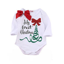 Cute Newborn Baby Girl Long Sleeve Bodysuit Jumpsuit My First Christmas Outfits Autumn Kids Suit(China)