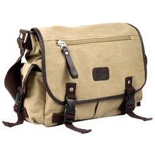 FGGS Vintage Men Canvas Shoulder Bag Satchel Casual Crossbody Messenger School Bag, Camel