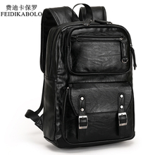 2017 POLO Male Leather Backpack Men travel Backpacks Mochila Masculina Black Men's Bookbag laptop backpack Mochilas Para Hombre