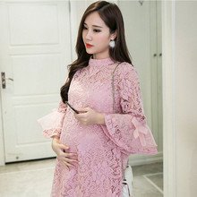 2017 spring summer new large loose lace dress codes for pregnant women in pregnant women Pregnant clothes Big size clothes