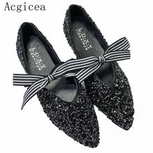 2017 New Fashion Bowtie Shining Women Shoe Outdoor Comfortable Spring Autumn Shoes Woman Beautiful High Quality Female Flats(China)