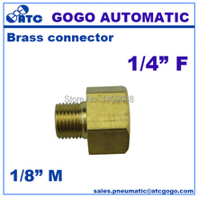 10pcs a lot GOGO Brass plumbing water conduit fitting 1/8 male to 1/4 female G thread union underwater connector copper joint(China)