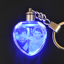Customized DIY Heart Shaped Crystal Photo Album With Changing Colors LED Lighting Laser Engraved Photo Keychain Souvenir & Gifts