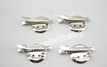 Metal Brooch + Hair Alligator Clip Double combination Single Prong teeth clips handwork DIY craft hair accessories 30pcs FJ3219