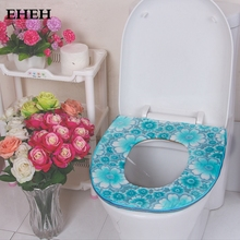EHEH Free Shipping Toilet seat cushion zipper type U shape toilet seat case Flower pattern Fresh design toilet seat cover EH045(China)