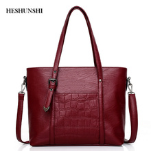 HESHUNSHI Casual Fashion Ladies' Handbag With A Crocodile Texture Clear And High Quality Fabric Slanted Across The Bag(China)