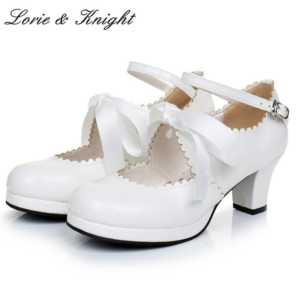 Womens Ribbon Bow Ankle Strap High Heel Pumps Princess Sweet Lolita Shoes<br>