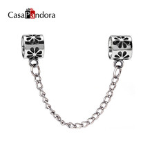 CasaPandora European Fashion 925 Plated Charm Fit Bracelet Flower Charm Safety Chain Stopper Charm Making Accessories DIY