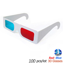 Hot selling Paper 3d glasses red blue 100 Pairs of Red/Cyan Cardboard children - Folded in Protective Sleeve(China)