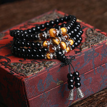 108 Onyx with Tiger's eye Bracelet Black Onyx Stone Tibetan Silver Buddha Bracelet for Women Men Jewelry Hand Made Accessories(China)