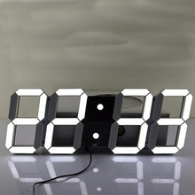 Creative Remote Control Large LED Digital Wall Clock Modern Design Home Decor 3d watch(China)