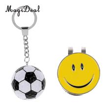 MagiDeal Sturdy Cute Smiling Face Magnetic Golf Ball Marker Clip On Cap Hat Visor With Football Keychain Keyring Gifts(China)