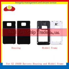 "10Pcs/lot 4.3"" For Samsung Galaxy S2 i9100 Chassis Back Housing Battery Rear Door Cover Body Middle Frame Bezel Black White"