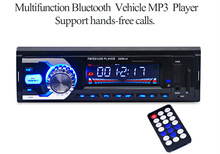 Car Audio Stereo 6208 12V Digital Stereo FM Radio Bluetooth V2.0 USB SD AUX Mic Hands-free with Remote Control Car Mp3 Player(China)