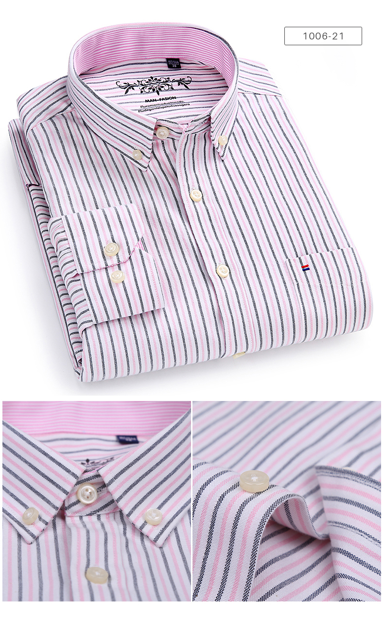 Men's Long Sleeve Contrast Plaid/Striped Oxford Dress Shirt with Left Chest Pocket Male Casual Slim-fit Buttoned Down Shirts 7