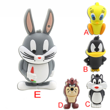 USB stick usb 128GB 2.0 real capacity Ducks and rabbits USB flash drive pen drive 4g 8g 16g 32g 64g memory Stick Pendrive U Disk(China)