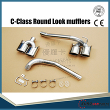 W204 muffler tips for MB C-Class W204 exhaust pipe look Round C63 tips W204 C180 C200 C300 to  C63  with logo