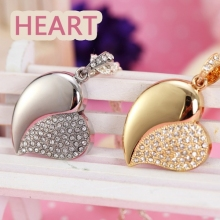 Jewelry Heart Pen Drive 64GB 32GB 16GB 8GB Diamond Crystal Heart USB 2.0 Flash Card Drive 64GB Pendrive Gift USB Flash Drive Key