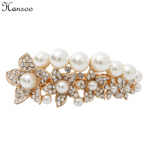 Hansoo women hair accessory Pearl Barrettes big size 8cm golden color crystal hairclip butterfly girls hairpin lady's Hairbands(China)