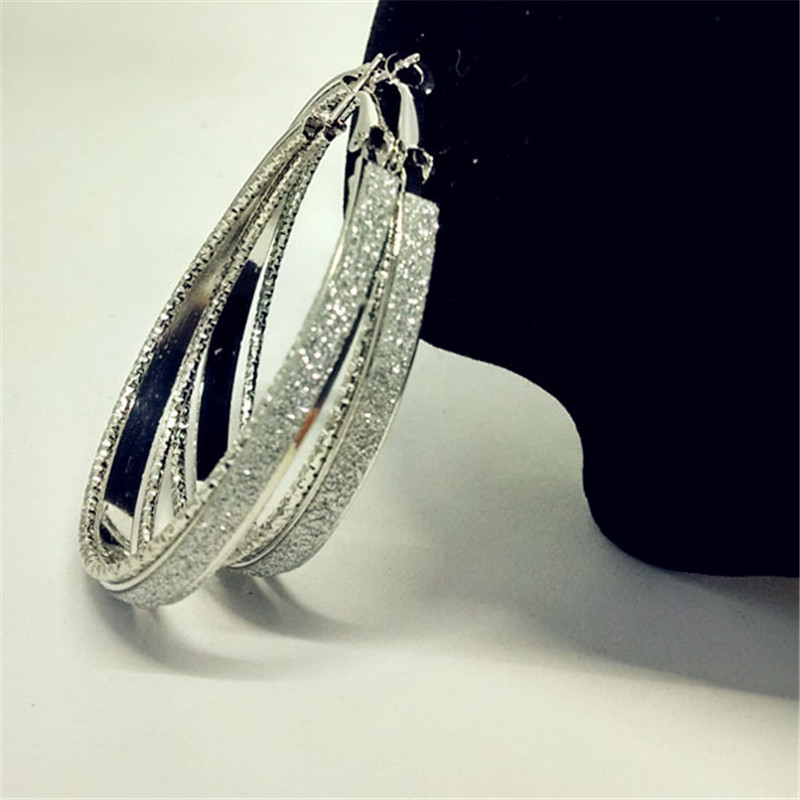 Luxury-Gold-Silver-Color-Frosted-Earring-Jewelry-Round-Big-Hoop-Earrings-For-Women-Fashion-Accessories-Party (3)
