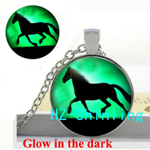 Glow in The Dark Black Horse Necklace Running Horse Pendant Glass Animal Jewelry Glowing Necklace Pendant