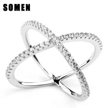 925 Sterling Silver CZ X Cross Long Ring Micro Pave AAA CZ for Party Engagement Wedding Band Fashion Jewelry Women