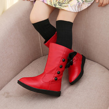 Girls Boots Bowknot Leather High Snow Boots For Girls Winter Boots Kids Winter Shoes Red Black White