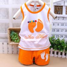 Kids Clothes cotton vest suit children's little feet pattern Children clothing set for baby boy girls cotton baby girl clothes