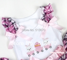 White Pettitop With Bunny Rabbit Egg Print with Light Pink Checked Ruffles & Light Pink Bow MATB282