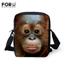 2017 Famous Designer Monkey Men Messenger Bags High Quality 3D Zoo Aniamal Man Mini Crossbody Bags Brand Casual Male Travel Bag(China)