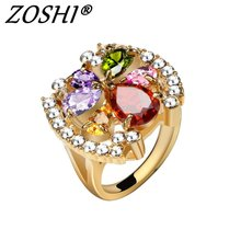 Fashion Engagement Rings Colorful Cubic Zirconia Rings Luxurious Flower Jewelry Wedding Ring Women Ring For Party Buy A Gift(China)