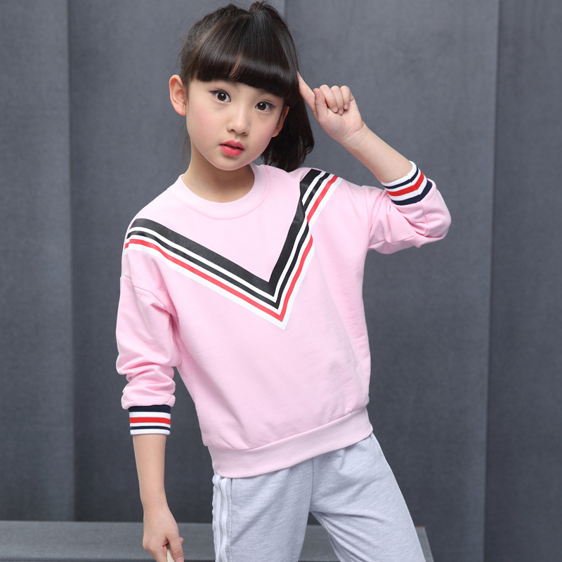 2017 Baby Girl Fashion Clothing Set Stripe Pattern Kid Pullover Top + Pants Kid Sport Hoodies Set  Children Cotton Clothes Suit<br><br>Aliexpress
