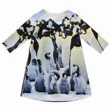 Girls Dresses nice penguin Print Children Designer baby Kids Clothes Fashion Kids 7 sleeve Girl clothing Spring and autumn dress