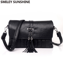SMILEY SUNSHINE small shoulder bags mini women messenger bags ladies day clutches hand bag black tasse female crossbody bag 2017(China)