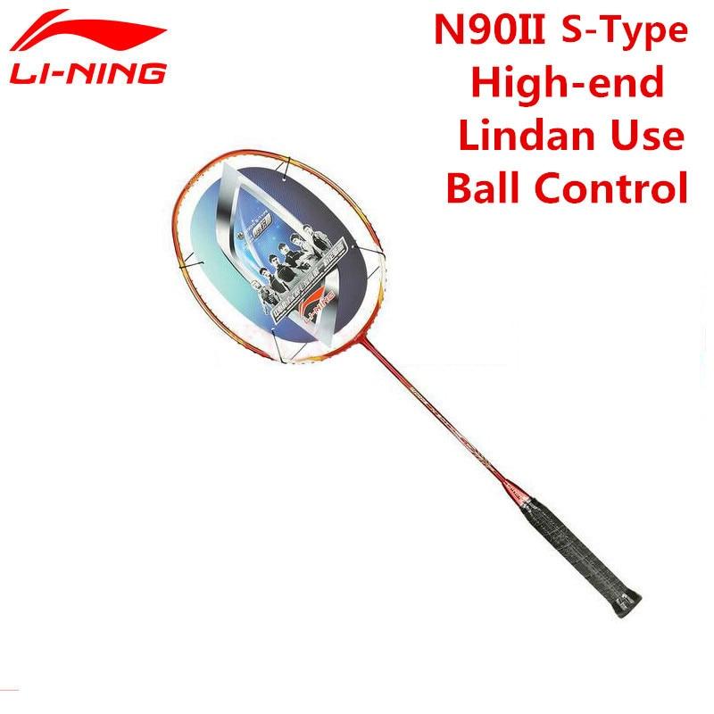 Li-Ning Lin Dan Champion Badminton Rackets Li Ning N90II S-Type Ball Control Lining TB Nano Carbon Fiber Racquet AYPF002 L537OLB