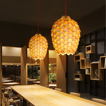 New arrival Modern wooden pinecone king pendant lamp dia 30cm/38cm restaurant hanging ceiling lamps retro industrial lighting(China)