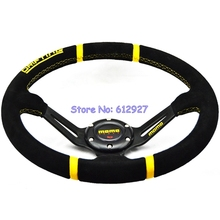 "Free Shipping 350MM MOMO Drifting Steering Wheel Suede Leather Steering Wheel / 14"" Deep Dish MOMO Steering Wheel for Racing Car"