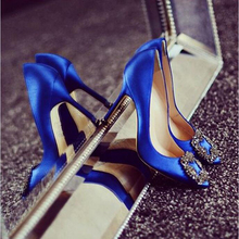 Fabulous Blue Women Wedding Shoes Chic Hangisi Crystal-Buckle Satin Stiletto Heels Low-cut Vamp Pointed Toe Jeweled Bridal Shoes