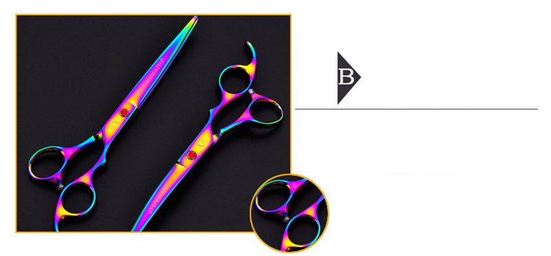 Gold Black Blue Cut Dog Hair Scissors Set tijeras 7 inch Straight Curved Thinning Shears Professional Pet Grooming Scissors Kit 18