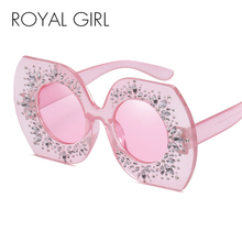 ROYAL GIRL Retro Modern Brand Designer Women Sunglasses Oversized Crystal gilded Glasses Hot 2017 shades(China)
