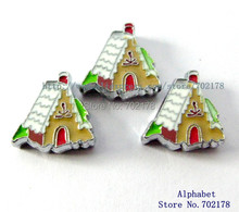 Gingerbread House wholesales 10pcs Slide Charms Can through 8mm band 8mm Pet Dog Cat Tag Collar Wristband