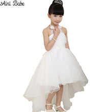 2017 Summer Princess Wedding Bridesmaid Flower Girl Dress for Child Wear Kids Clothes White Party Tutu Dresses for Girl Clothes(China)