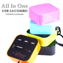 High Speed All In One 3 Ports USB 2.0 Hub Combo with Multi card Reader for tf/mirco SD/MMC/M2/MS Portable Brand New 5 Colors