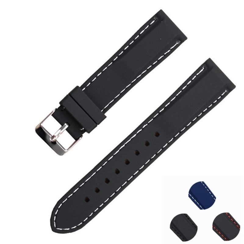 Watchband 20mm Rubber Watch bands Strap Sport Wrist Men Black Silicone Women Military Sweatband Watch Straps Band  18/20/22/24mm<br><br>Aliexpress