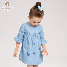 Girls Dresses Jeans Blue Dress For Little Girl Spring 2018 Brand Spring Half Sleeve Clothing Kids Children Clothes W8082(China)